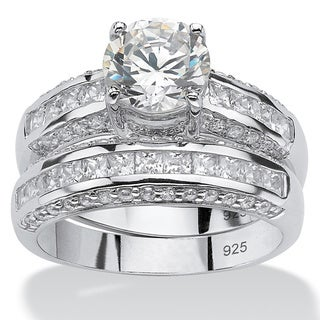 2 Piece 3.20 TCW Round Cubic Zirconia Bridal Ring Set in Platinum over Sterling Silver Cla