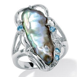 PalmBeach Gray Cultured Freshwater Biwa Pearl with Genuine Blue Topaz Accents Sterling Silver Ring Naturalist