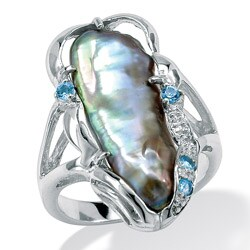 Gray Cultured Freshwater Biwa Pearl with Genuine Blue Topaz Accents Sterling Silver Ring N|https://ak1.ostkcdn.com/images/products/5901312/Angelina-DAndrea-Sterling-Silver-Freshwater-Biwa-Pearl-Ring-9-21-mm-P13606273.jpg?_ostk_perf_=percv&impolicy=medium
