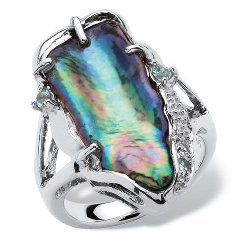 Gray Cultured Freshwater Biwa Pearl with Genuine Blue Topaz Accents Sterling Silver Ring N