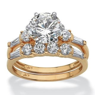 PalmBeach 2 Piece 3.60 TCW Round Cubic Zirconia Bridal Ring Set in 10k Gold Classic CZ