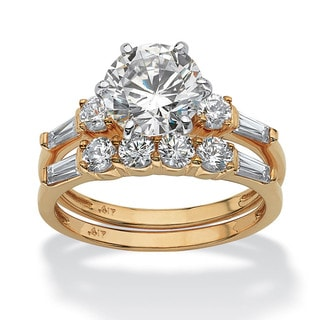 2 Piece 3.60 TCW Round Cubic Zirconia Bridal Ring Set in 10k Gold Classic CZ
