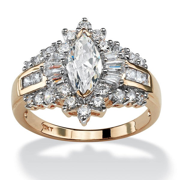 PalmBeach 2.19 TCW Marquise-Cut Cubic Zirconia Halo Engagement Ring in 10k Gold Classic CZ