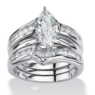 3 Piece 56 Tcw Marquise Cut Cubic Zirconia Bridal Ring Set In Sterling Silver Glam