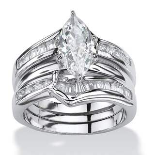3 Piece 3.56 TCW Marquise-Cut Cubic Zirconia Bridal Ring Set in Sterling Silver Glam CZ