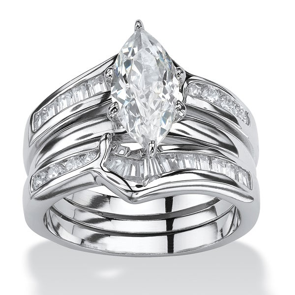 PalmBeach 3 Piece 3.56 TCW Marquise-Cut Cubic Zirconia Bridal Ring Set in Sterling Silver Glam CZ