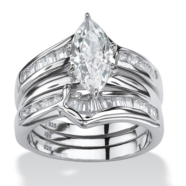 Sterling Silver Cubic Zirconia 3 Piece Bridal Ring Set - White. Opens flyout.