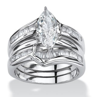 Sterling Silver Cubic Zirconia 3 Piece Bridal Ring Set - White