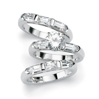 5.31 TCW Round Cubic Zirconia Sterling Silver 3-Piece Bridal Engagement Ring Wedding Band
