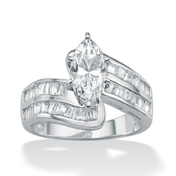 PalmBeach 4.10 TCW Marquise-Cut Cubic Zirconia Platinum over Sterling Silver Engagement/Anniversary Ring Classic CZ