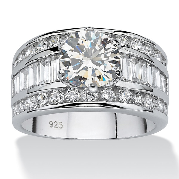 4.12 TCW Round Cubic Zirconia Platinum over Sterling Silver Engagement Anniversary Ring Gl