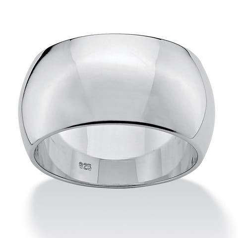Polished Sterling Silver Wide Wedding Band