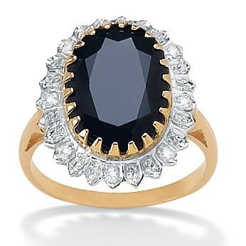 Angelina D'Andrea 18k Gold over Silver Sapphire and 1/6ct TDW Diamond Ring (I-J, I2-I3)