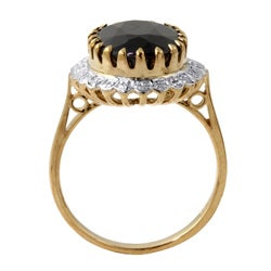 Angelina D'Andrea 18k Gold over Silver Sapphire and 1/6ct TDW Diamond Ring (I-J, I2-I3) - Thumbnail 1