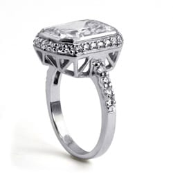 PalmBeach 4.48 TCW Cushion Princess-Cut Bezel-Set Cubic Zirconia Platinum over Sterling Silver Ring Glam CZ