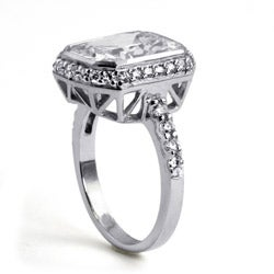 4.48 TCW Cushion Princess-Cut Bezel-Set Cubic Zirconia Platinum over Sterling Silver Ring - Thumbnail 1