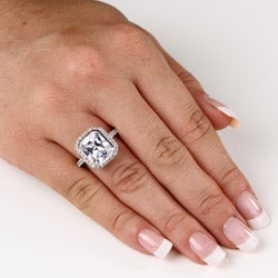 4.48 TCW Cushion Princess-Cut Bezel-Set Cubic Zirconia Platinum over Sterling Silver Ring - Thumbnail 2