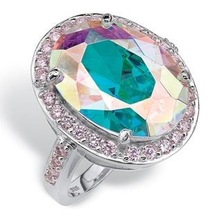 13.57 TCW Oval-Cut Aurora Borealis Cubic Zirconia Cocktail Ring in Sterling Silver Color F