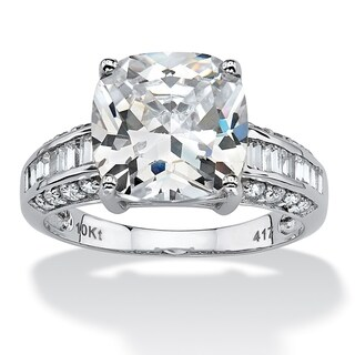 PalmBeach 3.28 TCW Cushion-Cut Cubic Zirconia 10k White Gold Engagement Anniversary Ring Glam CZ