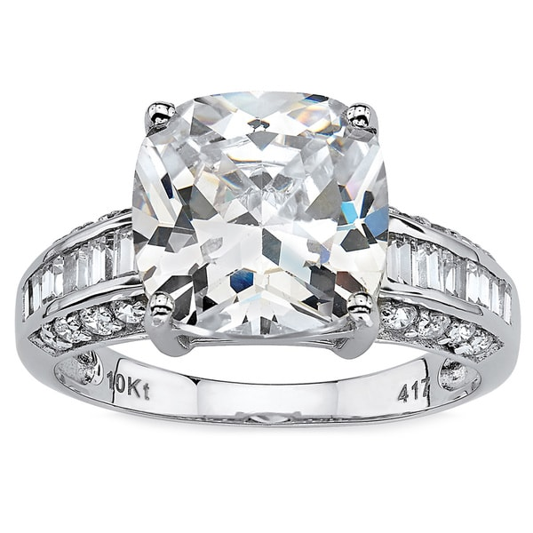 328 TCW Cushion Cut Cubic Zirconia 10k White Gold Engagement Anniversary Ring Glam CZ