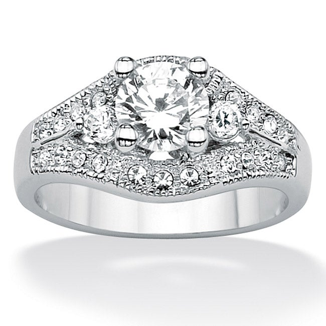 1.56 TCW Round Cubic Zirconia Platinum over Sterling Silver Engagement Anniversary Ring Cl