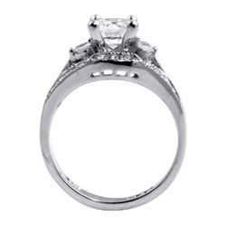 1.56 TCW Round Cubic Zirconia Platinum over Sterling Silver Engagement Anniversary Ring Cl - Thumbnail 1