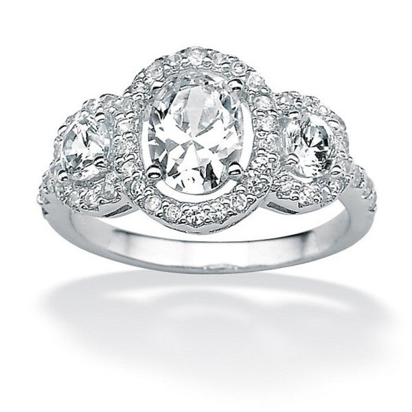 PalmBeach 2.21 TCW Oval-Cut Cubic Zirconia Engagement Anniversary Halo Ring in Platinum over Sterling Silver Classic CZ