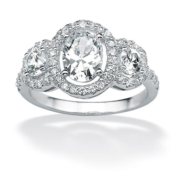 2.21 TCW Oval-Cut Cubic Zirconia Engagement Anniversary Halo Ring in Platinum over Sterlin