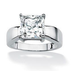 2.12 TCW Princess-Cut Cubic Zirconia 10k White Gold Solitaire Bridal Engagement Ring Class