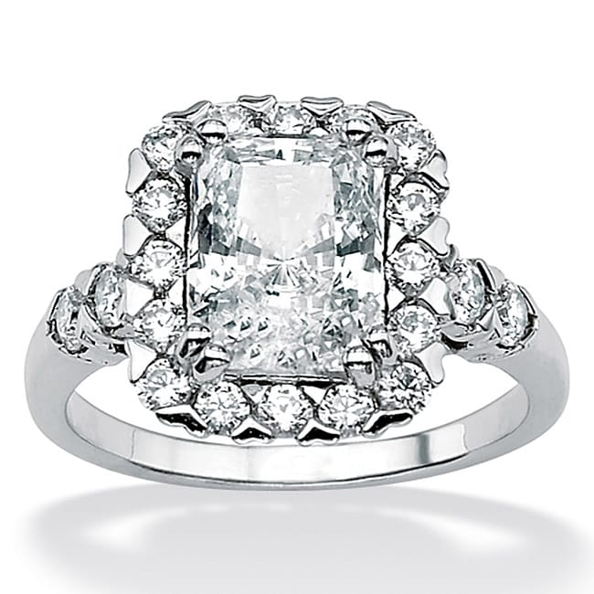 PalmBeach 3.77 TCW Emerald-Cut Cubic Zirconia Sterling Silver Engagement/Anniversary Ring Classic CZ