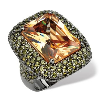 29.62 TCW Cushion-Cut Champagne-Colored Cubic Zirconia Black Rhodium-Plated Ring Bold Fash