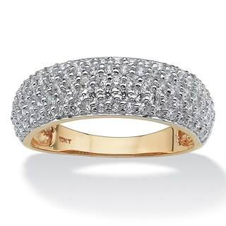 1.00 TCW Round Pave Cubic Zirconia 10k Yellow Gold Ring Classic CZ