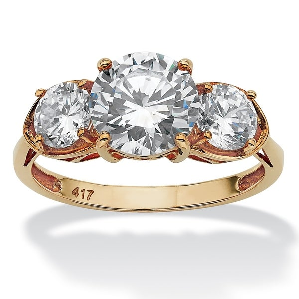 10K Yellow Gold Cubic Zirconia 3-Stone Bridal Ring - White