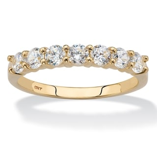 .70 TCW Round Cubic Zirconia 10k Yellow Gold Anniversary Stack Band Ring Classic CZ