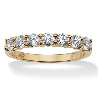 .70 TCW Round Cubic Zirconia 10k Yellow Gold Anniversary Stack Band Ring Classic CZ (4 options available)
