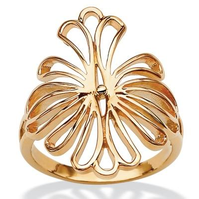Toscana Collection Gold Over Silver Floral Loop Ring