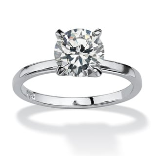 PalmBeach 2 TCW look Round Cubic Zirconia Solitaire Ring in Sterling Silver