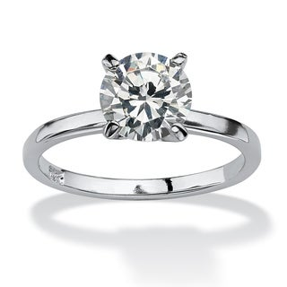 Sterling Silver Cubic Zirconia Solitaire Engagement Ring - White (More options available)