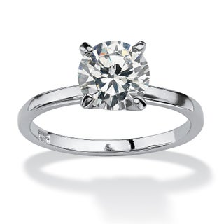 Sterling Silver 2ct TGW Round Cubic Zirconia Solitaire Ring (More options available)