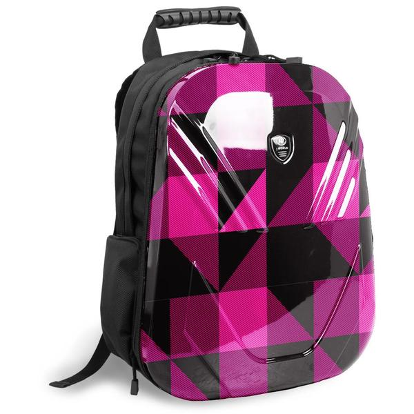 J World 'Tuttle' Pink Block 18-inch PC Tablet Backpack