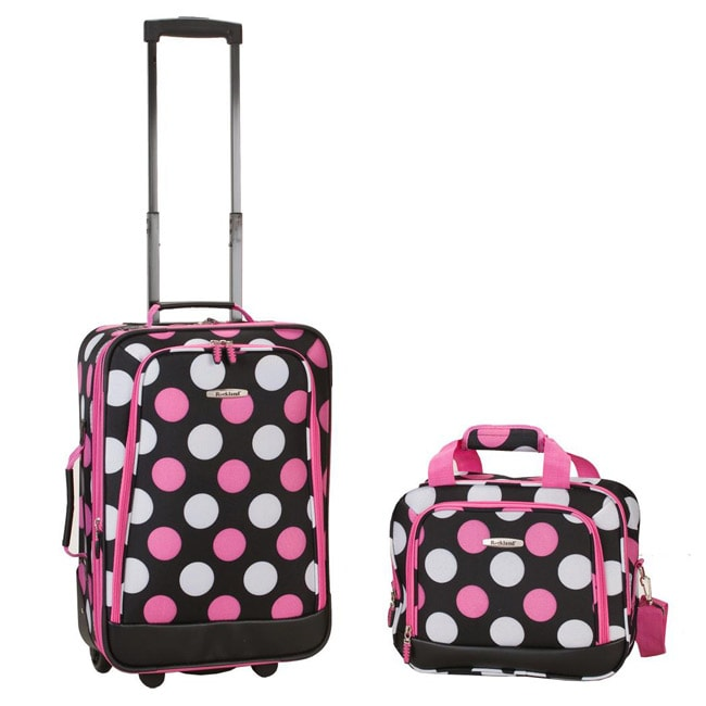 Rockland Multi Pink Dot 2-piece Lightweight Carry-on Luggage Set