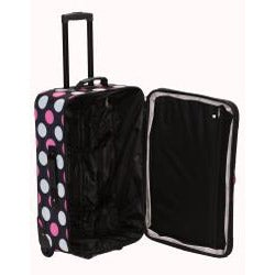 Rockland Multi Pink Dot 2-piece Lightweight Carry-on Luggage Set - Thumbnail 1