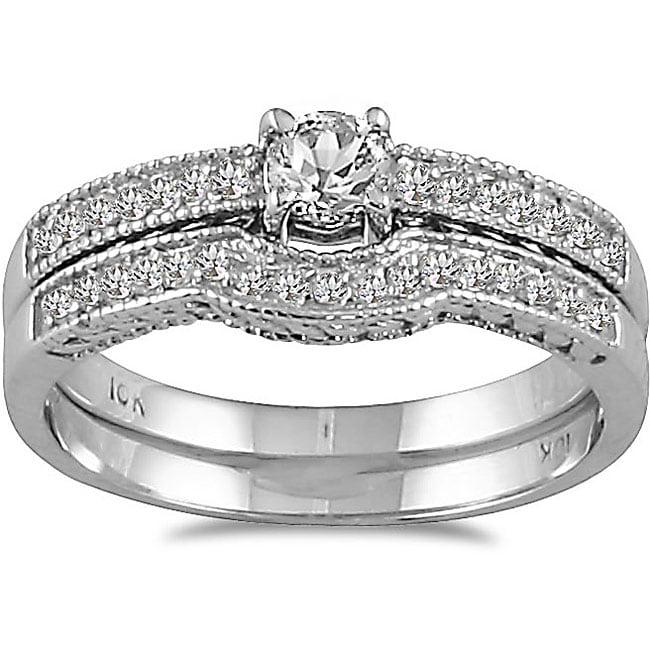 Marquee Jewels 10k White Gold 1/3ct TDW Diamond Bridal Ring Set (I-J, I1-I2)