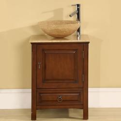Silkroad Exclusive Travertine Stone 22-inch Single-sink Cabinet Bathroom Vanity
