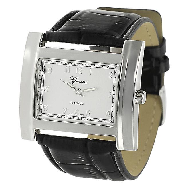 Geneva Platinum Women's Crocodile Faux Leather Strap Watch