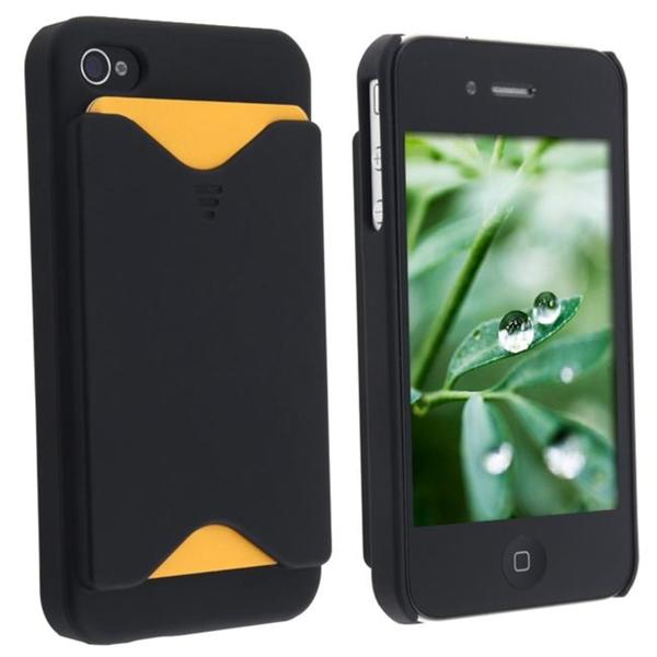Black Slim Case with Business Card Holder for Apple iPhone 4