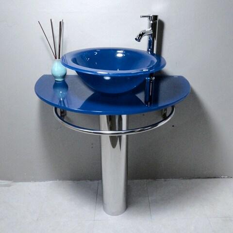 Kokols Blue Vessel Sink Pedestal Bathroom Vanity