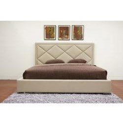 Palomar Beige Fabric Upholstered Modern King Size Bed