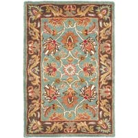 Safavieh Handmade Heritage Timeless Traditional Blue/ Brown Wool Rug - 3' x 5'