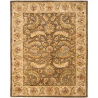 "Safavieh Handmade Heritage Timeless Traditional Green/ Beige Wool Rug - 7'6"" x 9'6"""